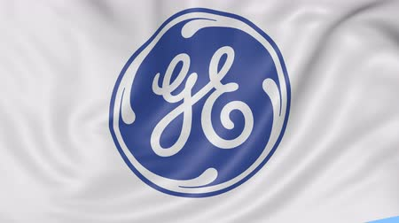 general electric : Close up of waving flag with General Electric logo, seamless loop, blue background. Editorial animation.