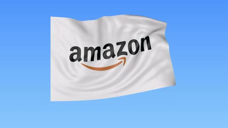 amazonka : Waving flag with Amazon.com logo, seamless loop, blue background. Editorial animation.
