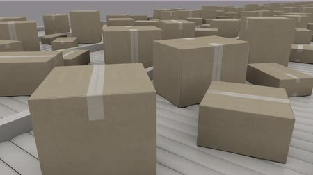 kutu : Cartons being transported on conveyors, close up. 4K seamless loopable clip