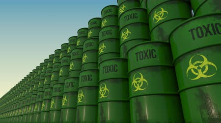 önlemek : Lines of green barrels with toxic content. 4K seamless loopable animation