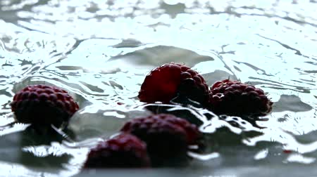 ягоды : Ripe raspberries falling into water, super slow motion video