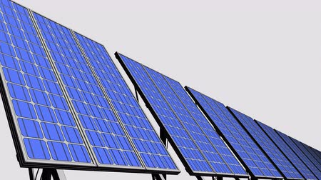 renovável : Muiltiple solar panels, blue cartoon version for presentations and reports. Renewable energy generation. 4K seamless loopable clip.