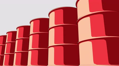 inflammable : Line of glossy red metal barrels. Cartoon version for presentations and reports. 4K seamless loopable animation, ProRes