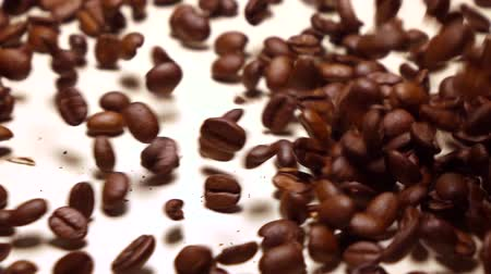 отскок : Falling roasted coffee beans covering white background, super slow motion shot Стоковые видеозаписи