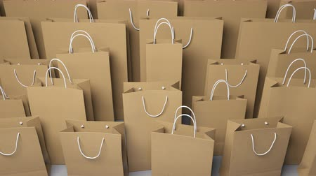 различный : Rows of different shopping bags. Seamless loopable 4K clip