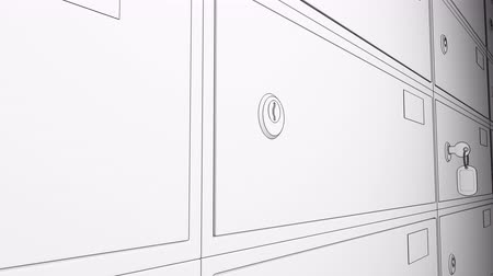 безопасный : Sketch animation. Row of safe deposit boxes and inserted key with tag. 4K