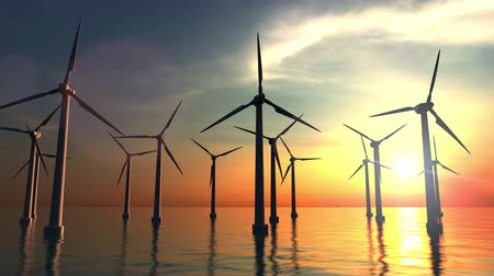 vento : Wind power turbines at sea sunset. 4K dolly clip
