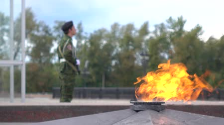 muhterem : Unrecognizable guard with assault rifle and World War II eternal flame memorial in Moscow. 4K shot