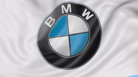 bavarian flag : Close up of waving flag with BMW logo, seamless loop, blue background. Stock Footage