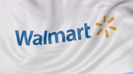 walmart : Close up of waving flag with Walmart logo, seamless loop, blue background. Editorial animation.