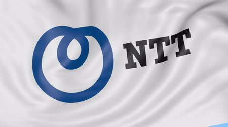 telegrafo : Close up di sventolando la bandiera con Nippon Telegraph and Telephone Corporation NTT logo, seamless loop, sfondo blu. Animazione editoriale.
