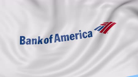ипотека : Close up of waving flag with Bank of America logo, seamless loop, blue background. Editorial animation.
