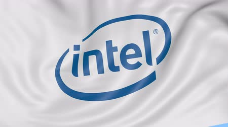 intel : Close up of waving flag with Intel Corporation logo, seamless loop, blue background. Editorial animation. Stock Footage