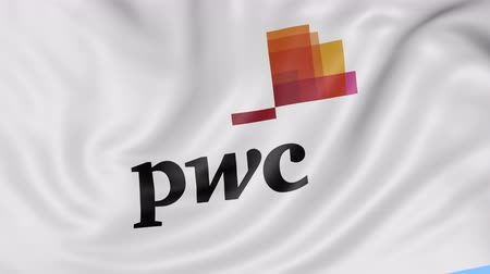 pwc : Close up of waving flag with PricewaterhouseCoopers PwC logo, seamless loop, blue background. Editorial animation.