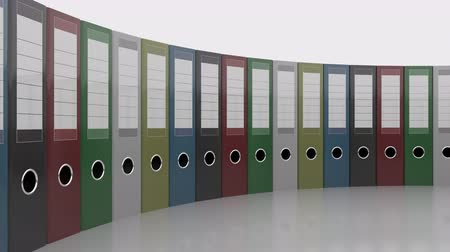 segregator : Row of office binders. Good for reports and presentations. 4K seamless loopable clip