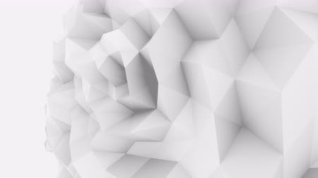 fejlődik : White 3D low poly edgy sphere motion background for modern reports and presentations. 4K seamless loop animation