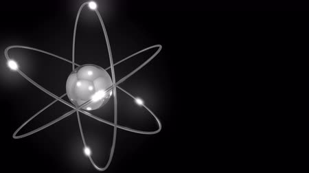 tudományos : Grey stylized atom and electron orbits. Scientific motion background with free space for inscriptions. Nuclear, physics, atomic, science concepts. 4K seamless loop animation Stock mozgókép