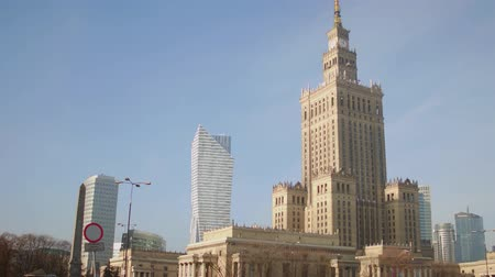 stalinist : WARSAW, POLAND - NOVEMBER, 26, 2016. Local landmark, Palace of Culture and Science was built in 1955, it is the is the tallest building in the country.