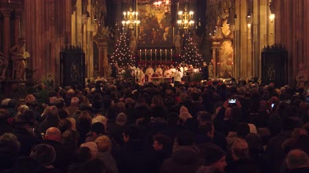 st stephen : VIENNA, AUSTRIA - DECEMBER, 24 Christmas mass in Saint Stephens Cathedral.