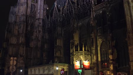 st stephen : VIENNA, AUSTRIA - DECEMBER, 24 Tilt shot of Saint Stephens cathedral at night. Popular touristic destination of the city. Stock Footage