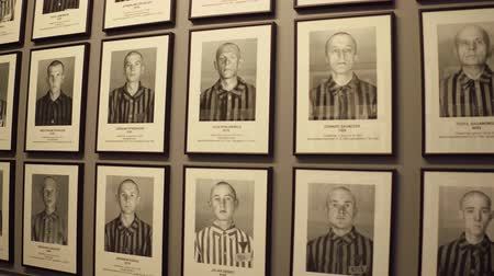 ss : OSWIENCIM, POLAND - JANUARY, 14, 2017 Portraits of Auschwitz Birkenau victims. German Nazi concentration and extermination camp memorial.