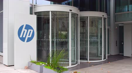 chipset : Street signage board with HP Inc. logo. Modern office building. Editorial 3D rendering