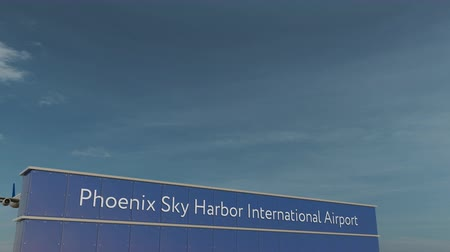 aerodrome : Commercial airplane taking off at Phoenix Sky Harbor International Airport 3D conceptual animation