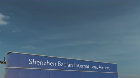 aerodrome : Commercial airplane taking off at Shenzhen Baoan International Airport 3D conceptual animation Stock Footage