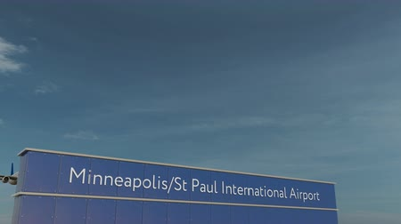 letreiro : Commercial airplane taking off at Minneapolis St Paul International Airport 3D conceptual