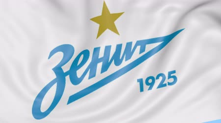 zenit : Close-up of waving flag with Zenit St. Petersburg football club logo, seamless loop, blue background. Editorial animation.