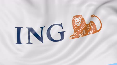 ing : Close-up of waving flag with ING Group logo, seamless loop, blue background, editorial animation.
