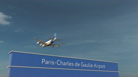 aerodrome : Commercial airplane landing at Paris Charles de Gaulle Airport 3D conceptual animation Stock Footage
