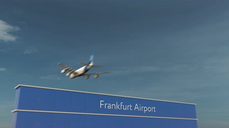 aerodrome : Commercial airplane landing at Frankfurt Airport 3D conceptual animation