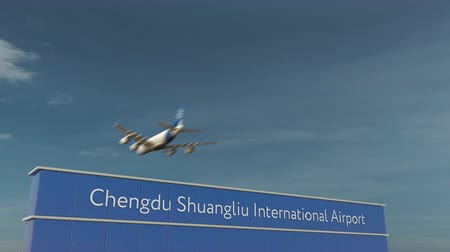 aerodrome : Commercial airplane landing at Chengdu Shuangliu International Airport 3D conceptual animation Stock Footage