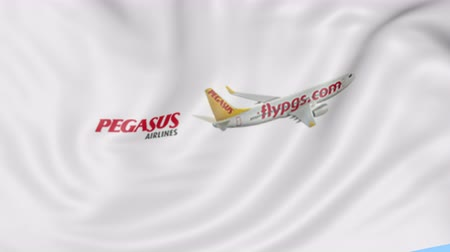 pegaz : Waving flag of Pegasus Airlines against blue sky background, seamless loop. Editorial animation