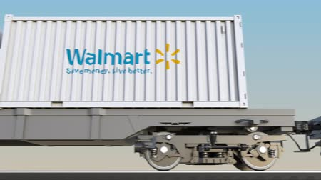 walmart : Railway transportation of containers with Walmart logo.