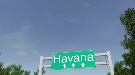 kuba : Airplane arriving to Havana airport. Travelling to Cuba conceptual 4K animation