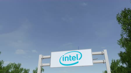 intel : Airplane flying over advertising billboard with Intel Corporation Stock Footage