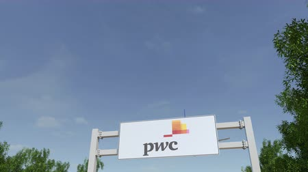pwc : Airplane flying over advertising billboard with PricewaterhouseCoopers PwC logo.