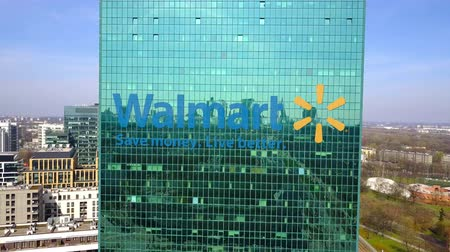 walmart : Aerial shot of office skyscraper with Walmart logo. Modern office building.