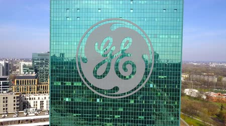 general electric : Aerial shot of office skyscraper with General Electric logo.