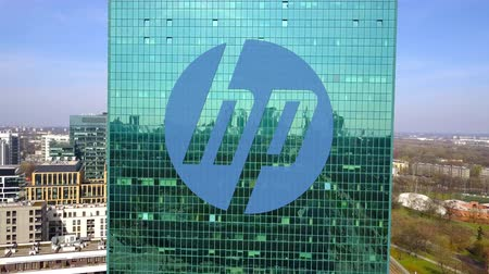 chipset : Aerial shot of office skyscraper with HP Inc. logo. Modern office building.