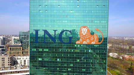 ing : Aerial shot of office skyscraper with ING Group logo. Modern office building.