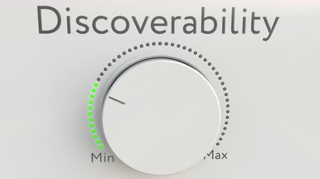 минимальный : Turning white hi-tech knob with discoverability inscription from minimum to maximum. Conceptual 4K clip
