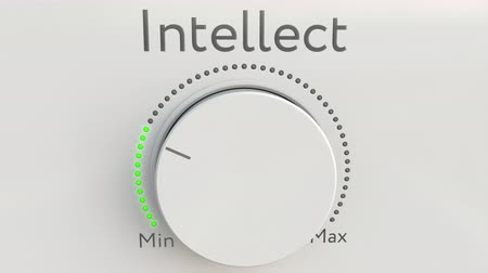 mínimo : Turning white hi-tech knob with intellect inscription from minimum to maximum. Conceptual 4K clip Vídeos