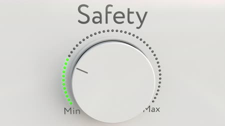 mínimo : Turning white hi-tech knob with safety inscription from minimum to maximum. Conceptual 4K clip