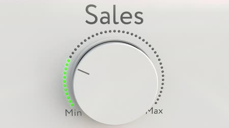 минимальный : Turning white hi-tech knob with sales inscription from minimum to maximum. Conceptual 4K clip