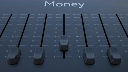 минимальный : Sliding fader with money inscription. Conceptual 4K clip