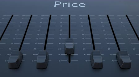 минимальный : Sliding fader with price inscription. Conceptual 4K clip Стоковые видеозаписи
