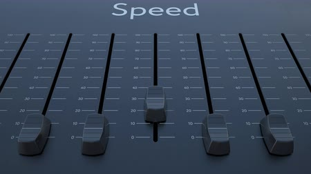 минимальный : Sliding fader with speed inscription. Conceptual 4K clip